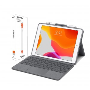 [BUNDLE] Logitech Combo Touch for iPad (7th Gen.) Backlit keyboard case with Trackpad and Smart Connector + Logitech Crayon