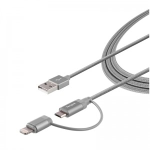 Targus Aluminium Series 2-in-1 (Lightning & Micro USB) Cable 1.2 meter - Black (ACC995AP-50)
