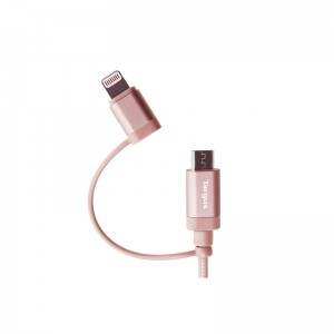 Targus Aluminium Series 2-in-1 (Lightning & Micro USB) Cable 1.2 meter - Rose Gold (ACC99504AP-50)