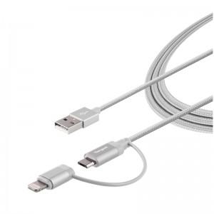 Targus Aluminium Series 2-in-1 (Lightning & Micro USB) Cable 1.2 meter - Silver (ACC99505AP-50)