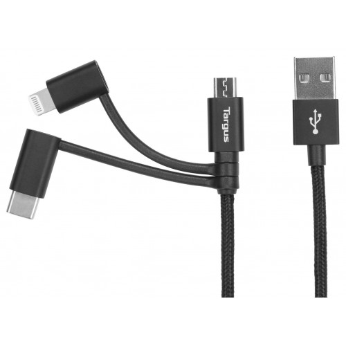 Targus ALU Series 3-in-1 (Lightning, Micro USB, USB-Type C) Cable (1.2M) - Black