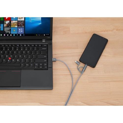Targus ALU Series 3-in-1 (Lightning, Micro USB, USB-Type C) Cable (1.2M) - Space Grey